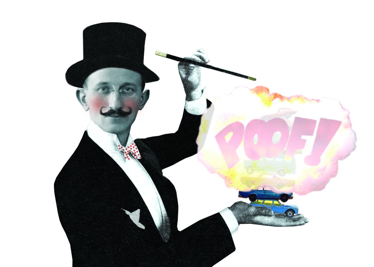 auto verdwijnen goochelaar parkeren illustratie esther dijkstra