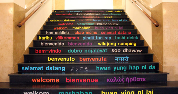 stairs ISS welcome 2000