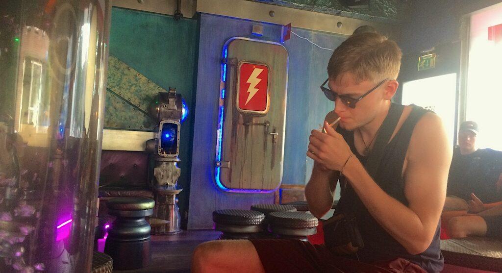 Mitchell Mcwoods coffeeshop smoking joint