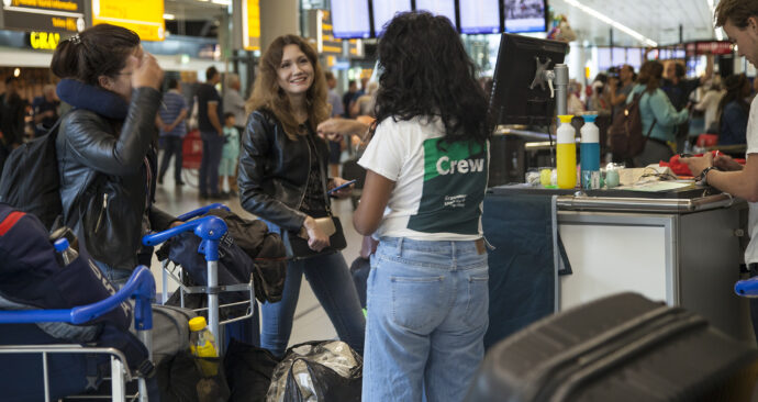 Internationale studenten, schiphol