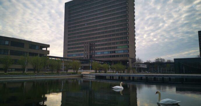 campus ochtend zwanen tinbergengebouw