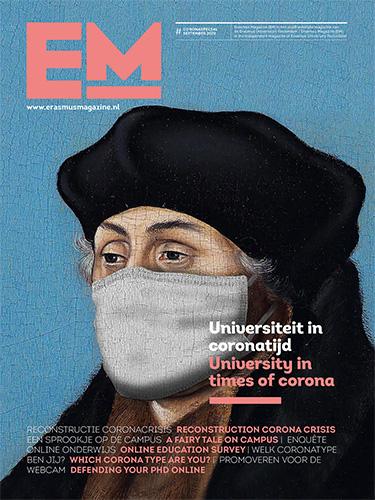 Cover coronaspecial met Desiderius Erasmus met mondkapje