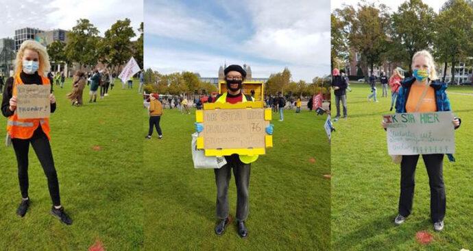 protesten studenten fysiek onderwijs coronacrisis Amsterdam 2 oktober 2020