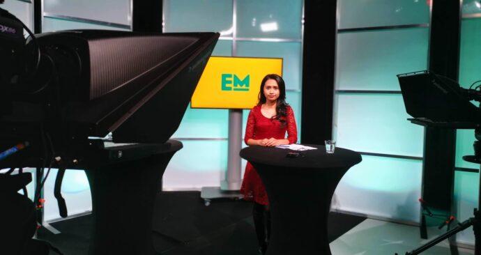 Feba in de studio voor EM TV