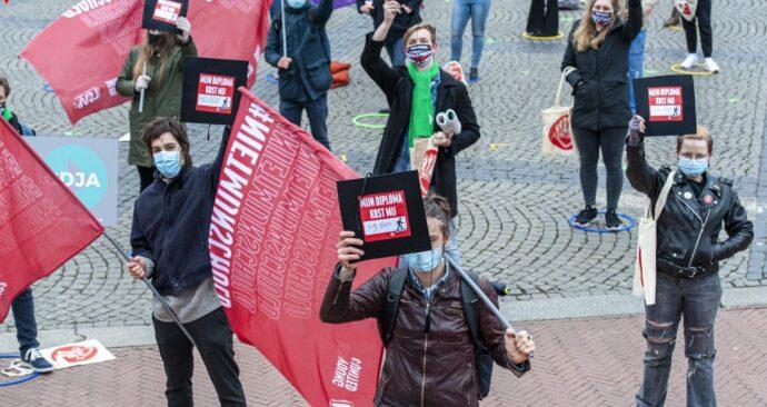 Studenten voeren actie tegen het leenstelsel