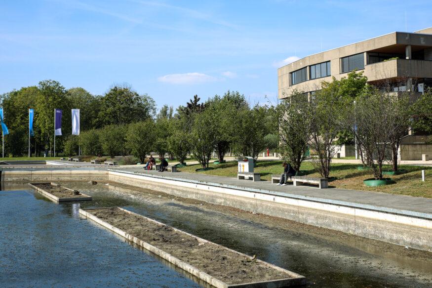 De vijver op de campus heeft betere tijden gezien.