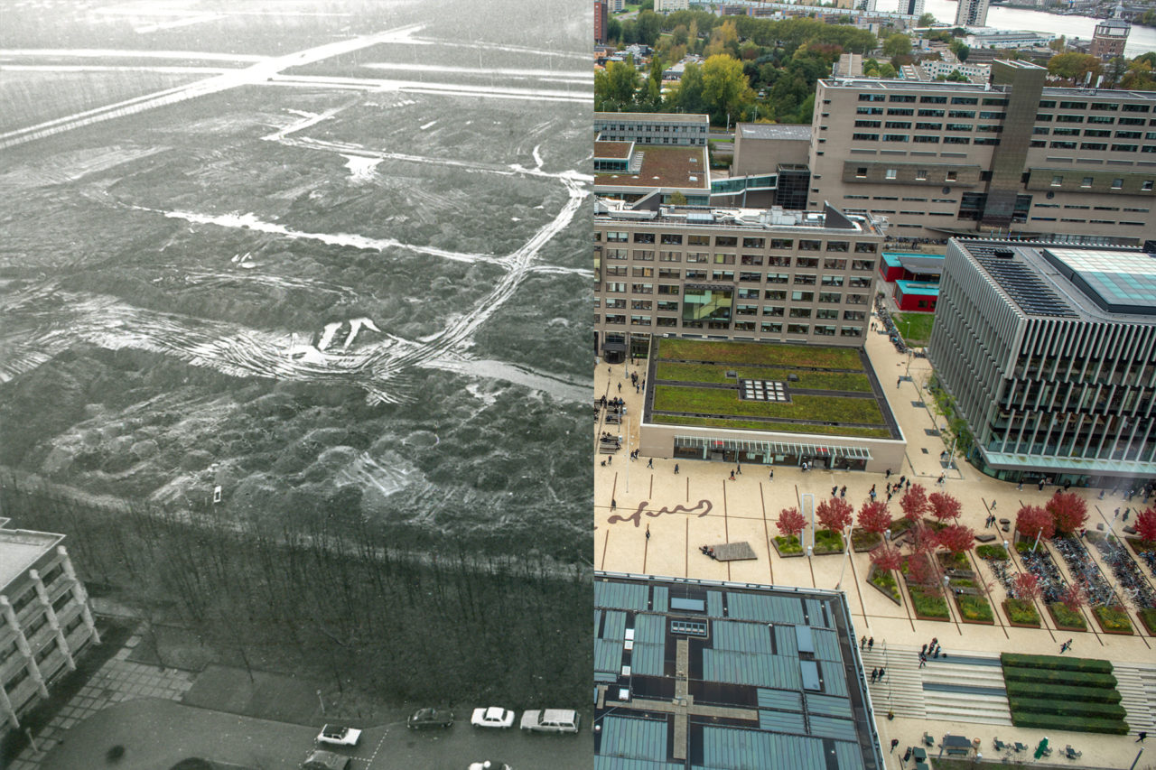 Campus Woudestein EUR, as seen from the Tinbergen Building (circa 1980 and 2018) Abram van Rijckevorselweg
