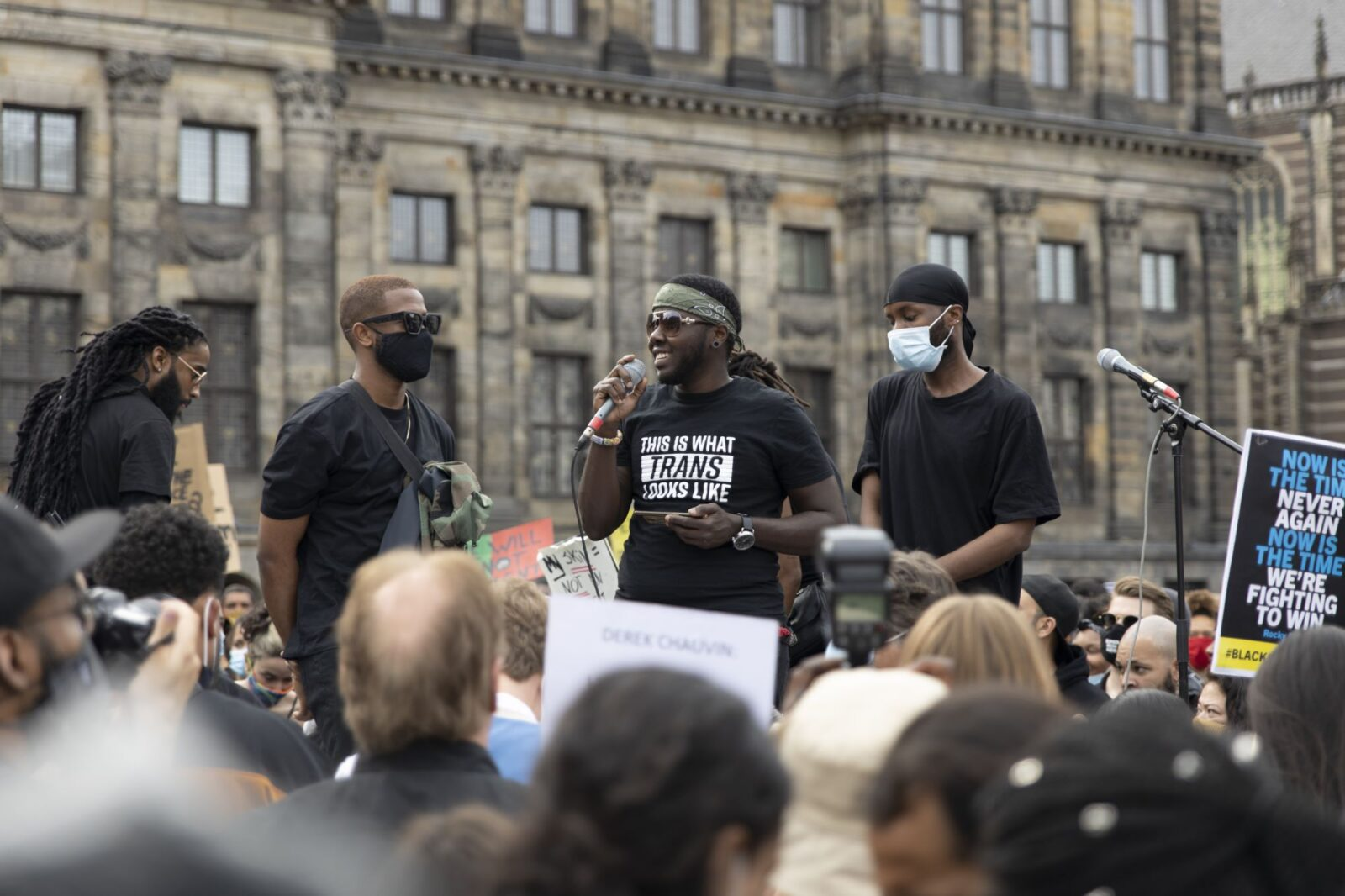 Speeches were made on stage for the entire two hours of the protest.
