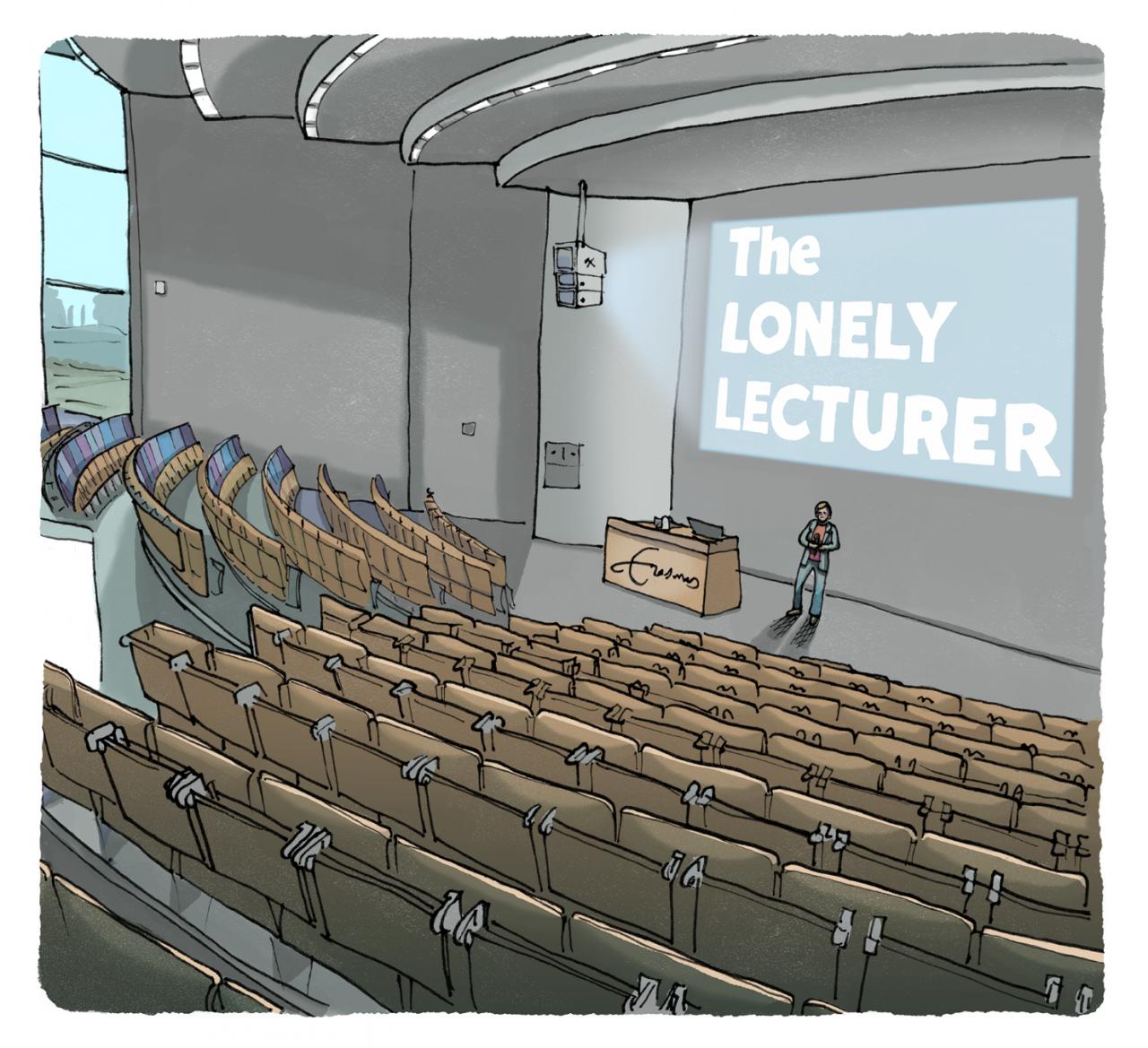 ikrotterdam – eenzame docent – corona lege collegezaal