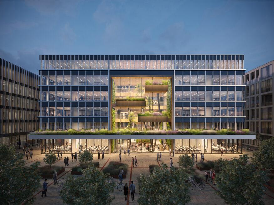 multifunctioneel onderwijsgebouw 2 naast polak gezien vanaf Plaza – paul de ruiter architects