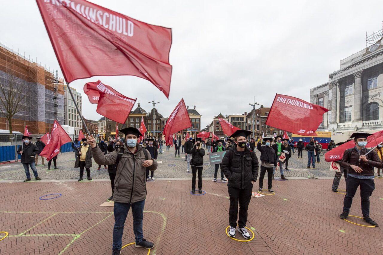 protest demonstratie Studenten voeren actie tegen het leenstelsel